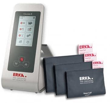 ERKA Erkameter E Oberarm-Blutdruckmessgerät Tischmodell, Green Cuff Smart Rapid Set
