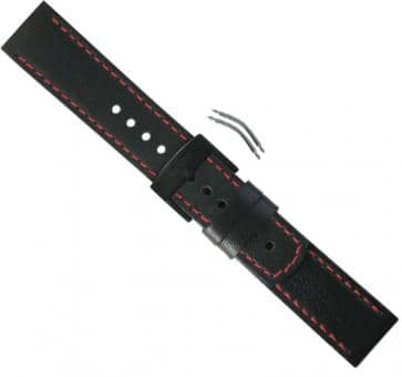 Suunto Elementum Terra/Ventus Black/Red Leather Armband-Set
